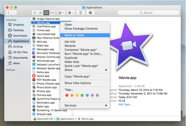 iMovie manuell vom Mac deinstallieren
