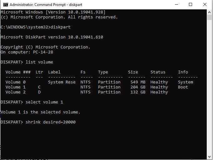 как сжать жесткий диск в Windows 10