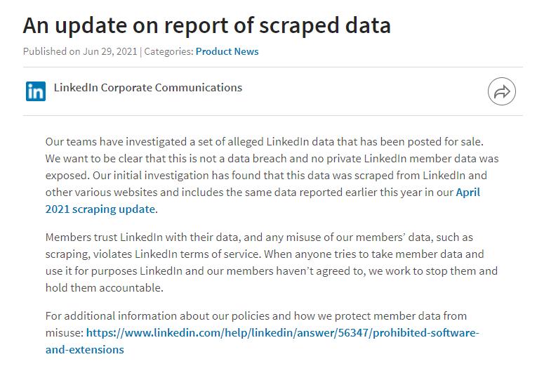 Datenschutzverletzung Linkedin