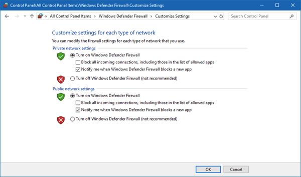 Deaktivieren Sie die Windows Defender-Firewall