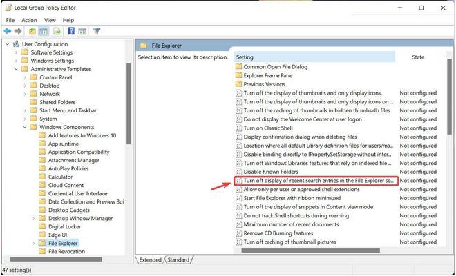 Suchfeld des Datei-Explorers