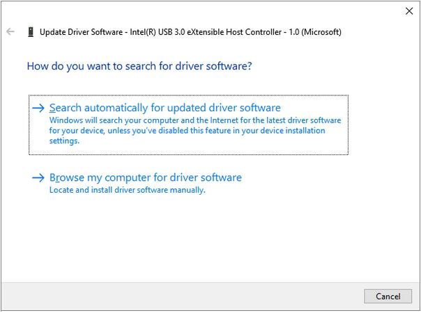 Automatisch für aktualisierte Treibersoftware auswählen