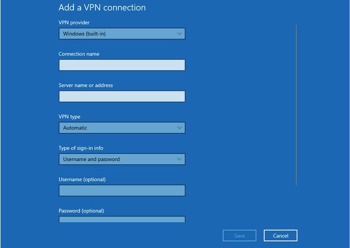 Wählen Sie den VPN-Typ aus