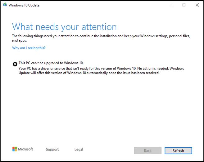 """Dieser PC kann nicht aktualisiert werden"""" Fehler"""