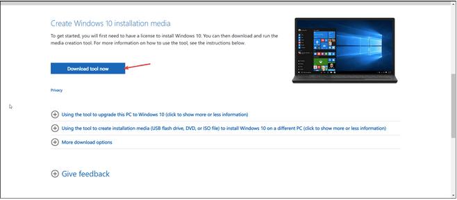 Verwenden Sie das Windows Media Creation Tool