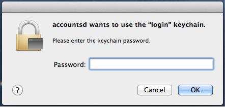Accountsd möchte den Login-Schlüsselbund verwenden