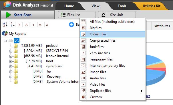 """Option """"Älteste Dateien"""""""