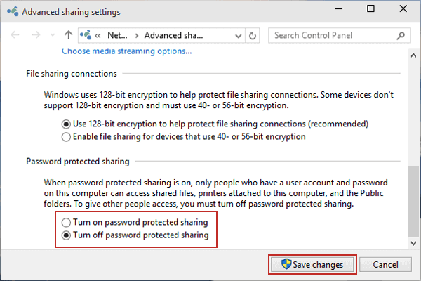 Passwortgeschütztes Teilen