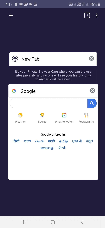 Pflege des privaten Browsers