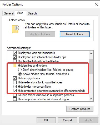 Versteckte Dateien, Ordner und Laufwerke anzeigen