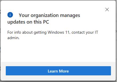 Ihre Organisation verwaltet Updates auf diesem PC
